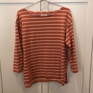 Madewell pumpkin striped 3/4 sleeve tunic